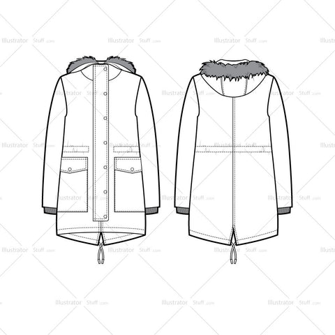 Fur Trim Hood Parka Flat Template