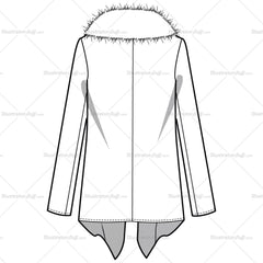 Women's Wool Cascade Ruffle Front Fur Collar Short Coat