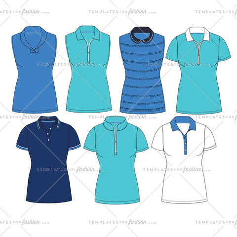 GOLF KNIT POLOS FASHION FLAT VECTOR TEMPLATE