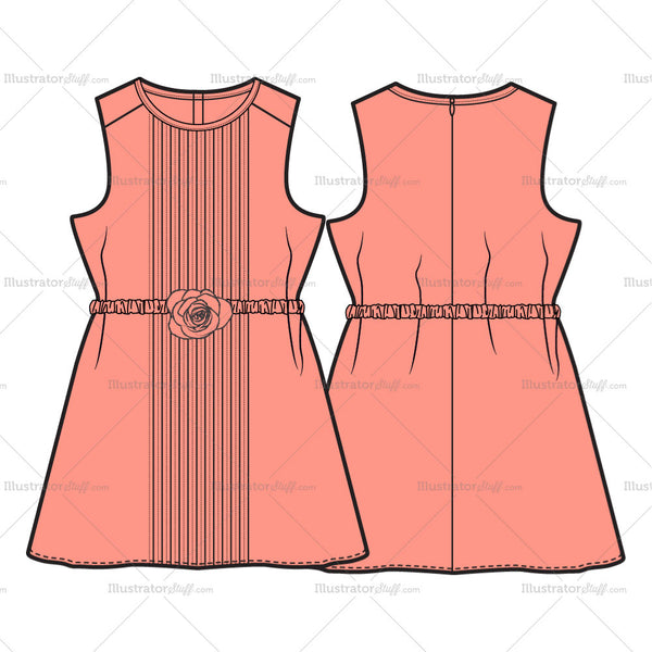 Girls Dress Fashion Flat Template