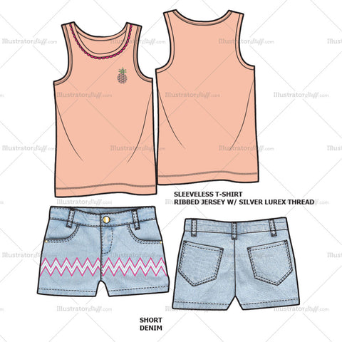 Girls/Infant Sleeveless T-shirt set Fashion Flat Template