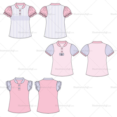 {Illustrator Stuff} Girl's Toddler Blouse Fashion Flat Template