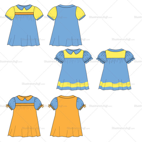 {Illustrator Stuff} Girl's Toddler Collared Dress Fashion Flat Template
