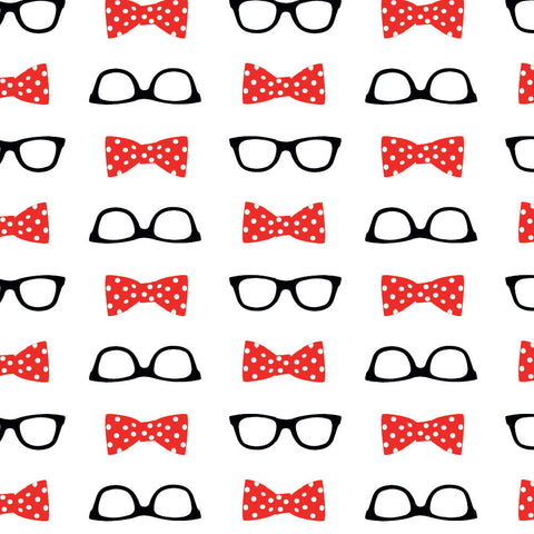 Glasses & Bowtie Repeating Pattern