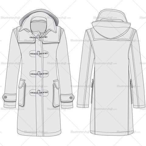 Duffle Coat Fashion Flat Templates