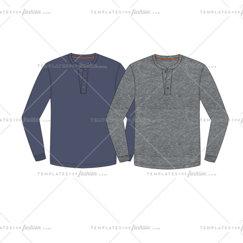 Henley Knit Shirt Fashion Flat Vector Template