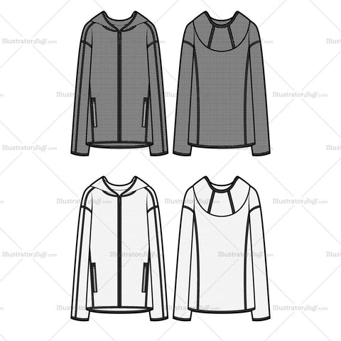 Hooded Mesh Jacket Flat Template
