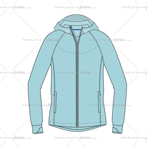 Hooded Outerwear Jacket Fashion Flat Vector Template