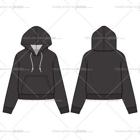 Hooded Sweatshirt fashion flat sketch template