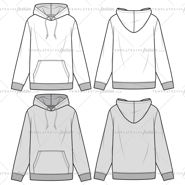 HOODIE fashion flat sketch template