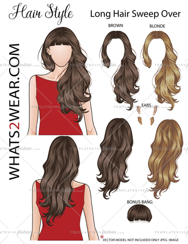 "Fashion Hair Add On ""Long Hair Sweep Over"""