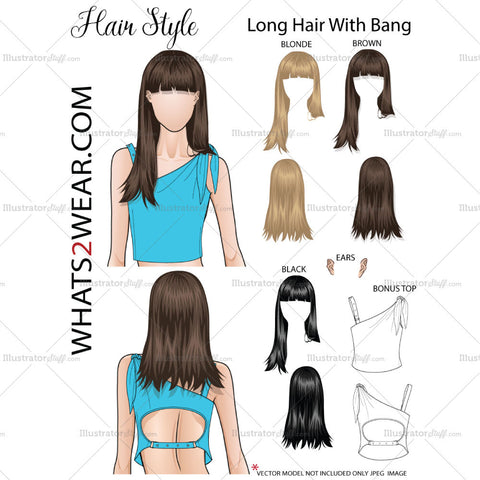 "Fashion Hair Add On ""Long Hair & Bang """