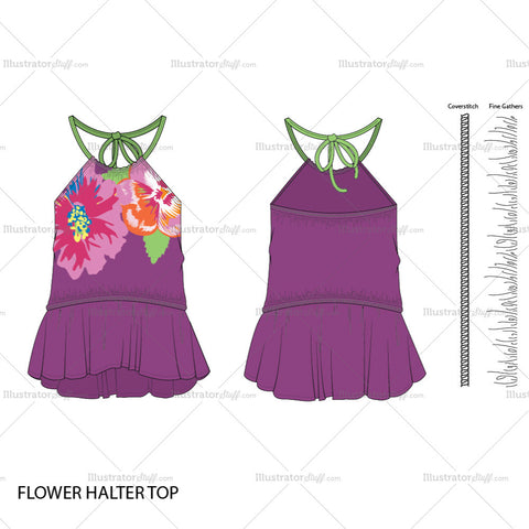 Women's Flower Halter Top Fashion Flat Template