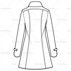 Women's Knee Length Collar Heavy Stitch Trench Fashion Flat Template