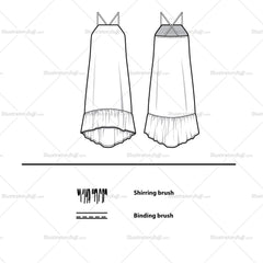 Hi-lo Summer Dress Flat Template