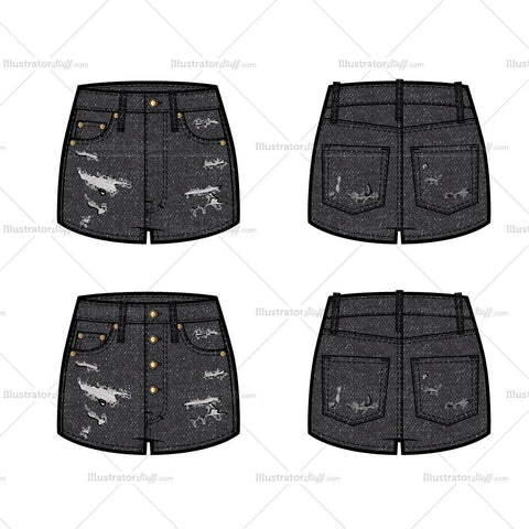 High-rise Distressed Denim Short Flat Template