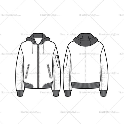Unisex Hooded Bomber Jacket Flat Template