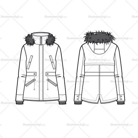 Hooded Parka Flat Template