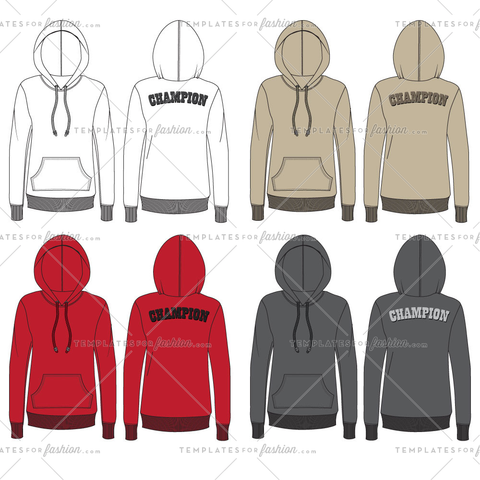 Women's Hooded Sweatshirt Fashion Flat Templates
