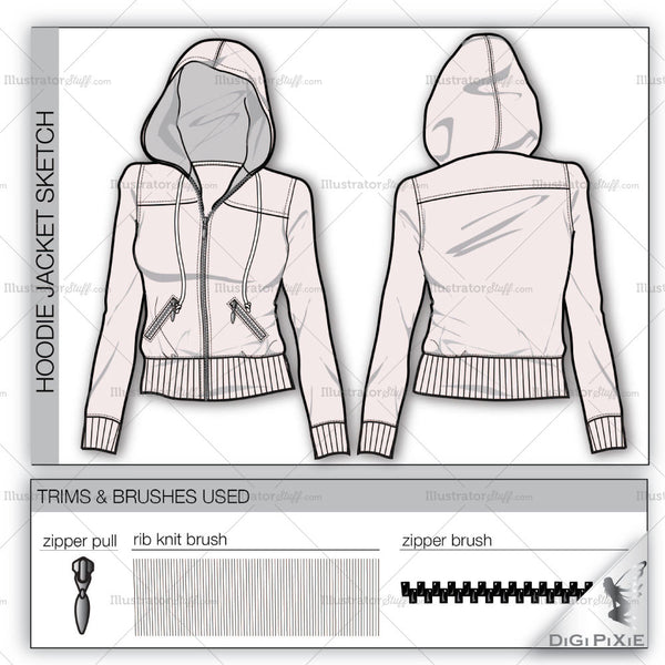 hoodie jacket flat template � templates for fashion