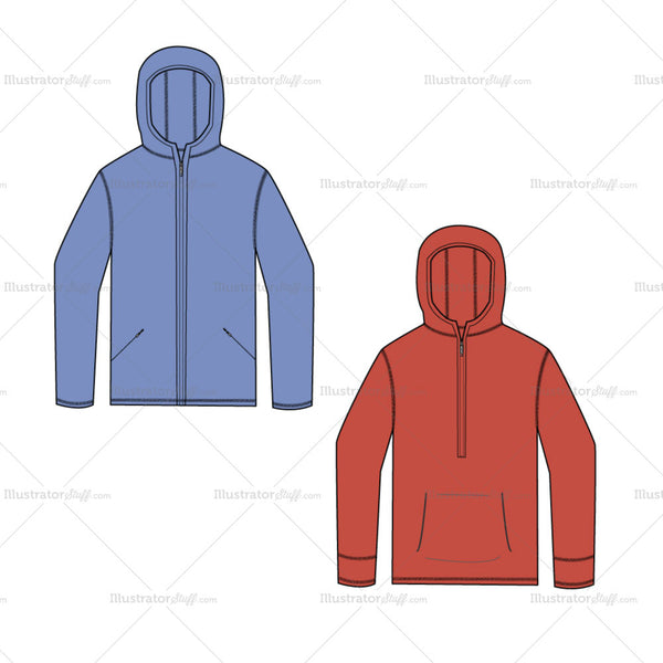 {Illustrator Stuff} Men's Hooded Sweatshirt Fashion Flat Template