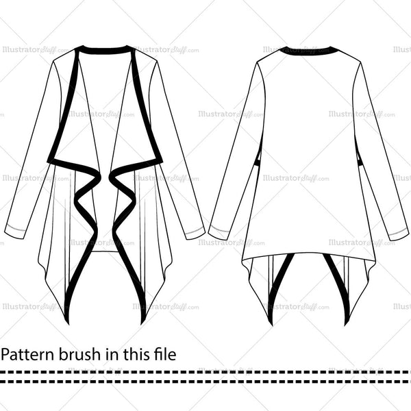 Women's Cardigan Fashion Flat Templates