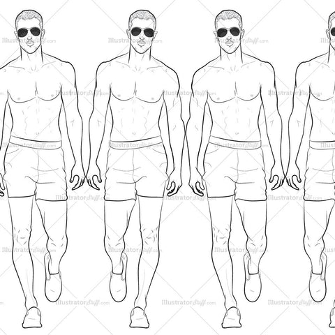 Male Runway Croquis Template: Jake