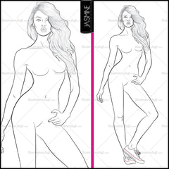 "Premium Croquis For Fashion Design ""jasmine"""