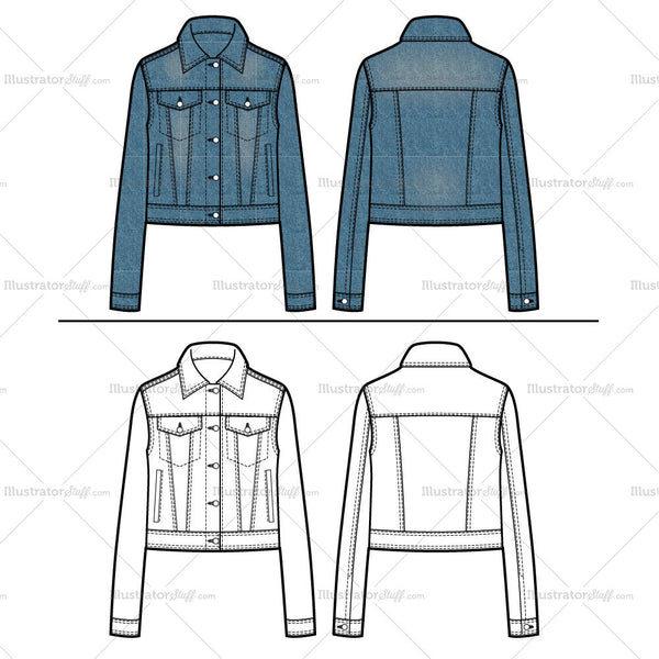 jean jacket flat template templates for fashion