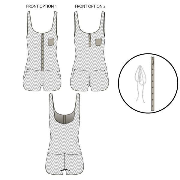 {Illustrator Stuff} Women's Jersey Knit Romper Fashion Flat Template