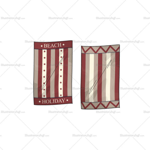 Beach Holiday Towel Flat Template
