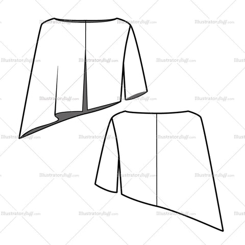 Women's Asymmetrical Blouse Cape Fashion Flat Template