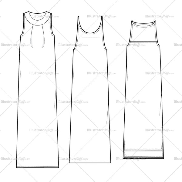 Women's Sleeveless Dress Fashion Flat Templates