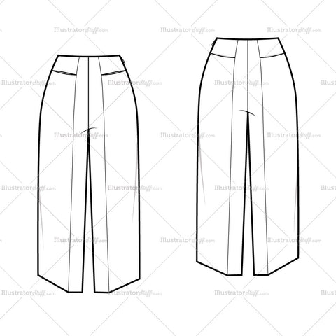 Women's Cropped Gaucho Pants Fashion Flat Template