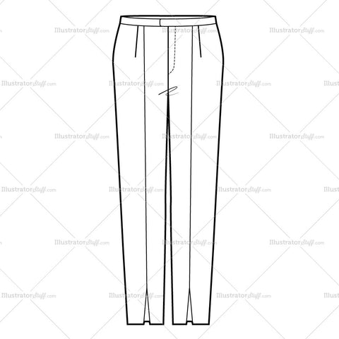 Women's Tapered Dress Slacks Fashion Flat Template