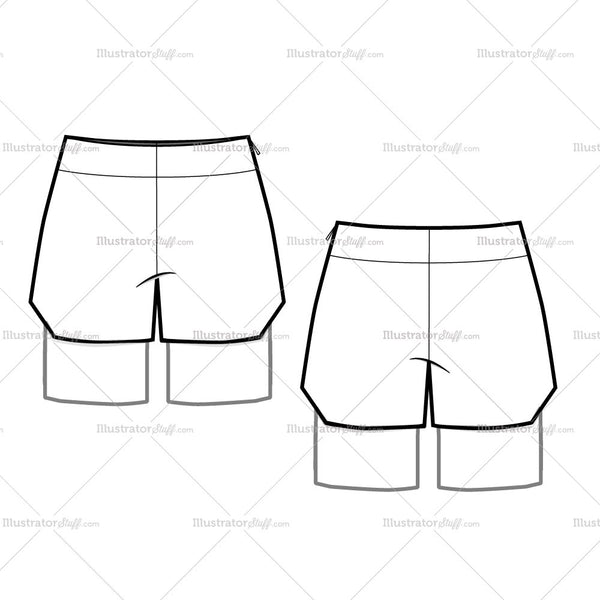 Women's Balloon Shorts with Undershort Fashion Flat Template