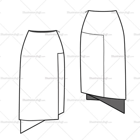 Women's Angled Hem Straight Skirt Fashion Flat Template