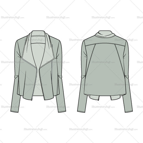 Women's Asymmetric Zip Jacket Fashion Flat Template