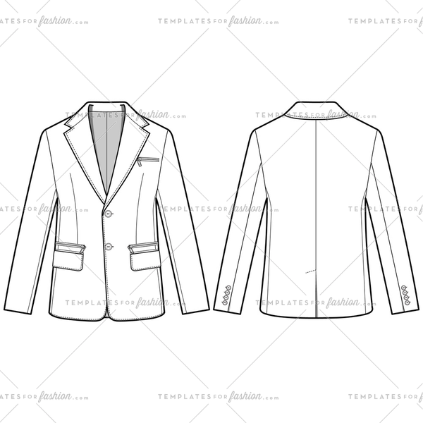 Jacket Outer Fashion Flat Templates
