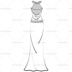 Women's Jewel Halter Neck Cowl Back Evening Gown