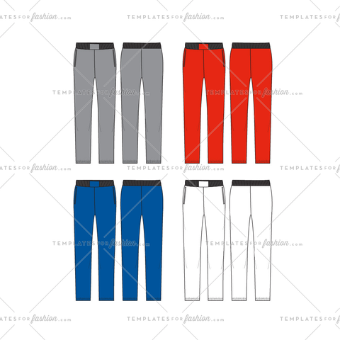 Unisex Jog Pants Fashion Flat Template