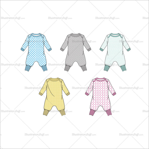 Baby Jumpsuit Fashion Flat Template