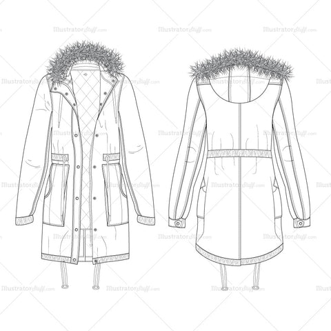 Women's Parka Coat Fashion Flat Template