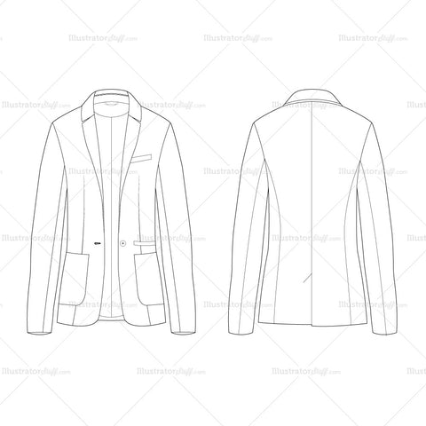 Men's Tailored Jacket Fashion Flat Template