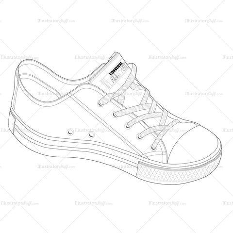 Unisex Converse Trainer Fashion Flat Template