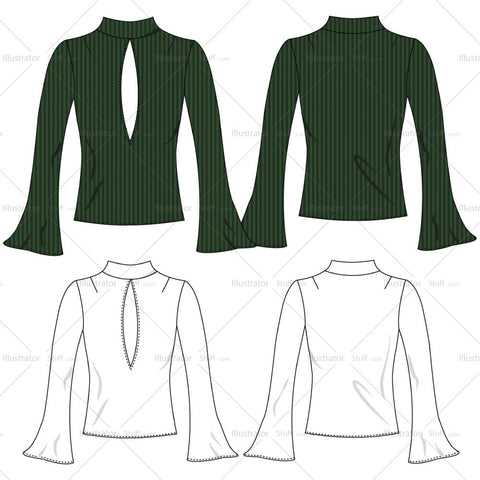 Ribbed Long Sleeved Keyhole Turtleneck