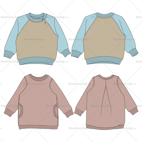 Kids Sweatshirt Fashion Flat Templates