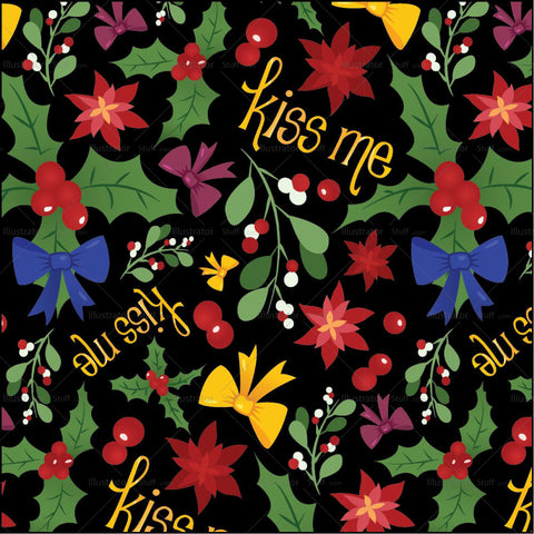 Kiss Me Mistletoe Pattern Repeat