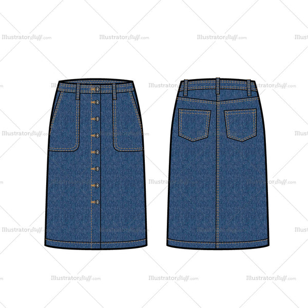 Knee Length Denim Skirt Flat Template
