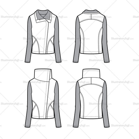 Knit Sleeve Moto Jacket Flat Template